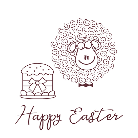 Vector illustration with Easter cake, eggs, lamb. Greeting card Happy Easter. Festive background. Design for banner, poster or print. Ilustrace