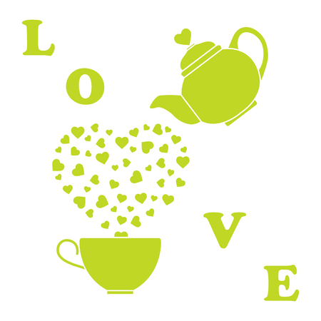 Vector illustration with kettle, cup of tea, hearts. Happy Valentines Day. Design for party card, banner, poster or print. Ilustrace