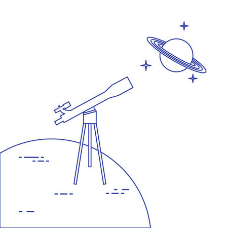 Vector illustration with telescope, planet Saturn with ring system. Astronomy. Design for banner, poster, textile, print. Ilustrace