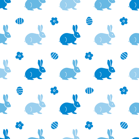 Seamless pattern with Easter Bunny. Happy Easter. Festive background. Rabbits, hares. Design for banner, poster or print.