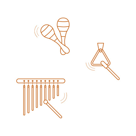Vector illustration with maracas, bar chimes, triangle. Musical instruments. Toy. Design for postcard, banner, poster or print. Ilustrace
