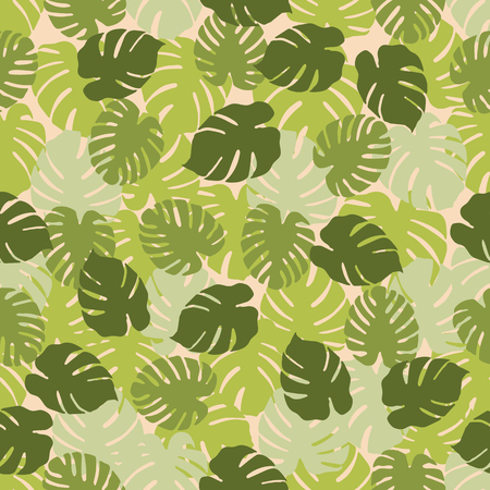 Seamless pattern with monstera leaves. Tropical background. Design for banner, poster, textile, print. Ilustrace