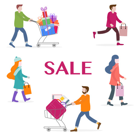 Vector illustration with people go shopping, carry shopping. Big sale and shopping concept. Design for banner, poster or print. Ilustrace