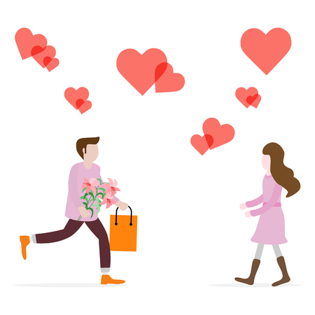 Young man with flowers and gift rushing for a date with woman, hearts. Birthday, Valentine's day, Mother's Day vector background. Design for greeting card, banner, poster or print.