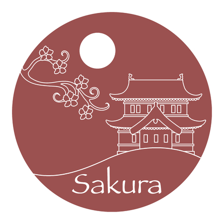 Vector illustration with sakura branch and old japanese castle. Japan traditional design elements. Branches of cherry blossoms. Travel and leisure. Ilustrace