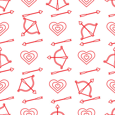 Seamless pattern with bow, arrows, target, hearts. Greeting card happy Valentines Day. Romantic background. Design for banner, poster or print.