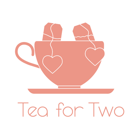 Vector illustration with cup, two tea bags with hearts. Tea for two. Happy Valentines Day.