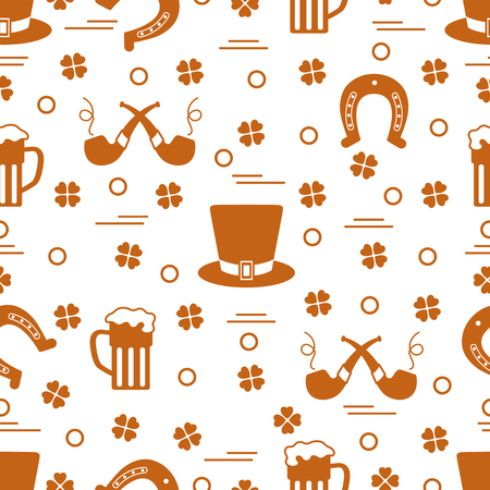 Seamless pattern with clover leaves, horseshoe, beer mug, hat, smoking pipe. St. Patrick's Day. Holiday background. Irish vector pattern. Design for banner, poster, textile, print. Vettoriali
