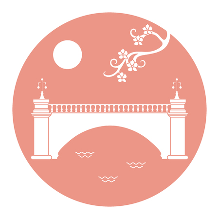 Vector illustration with sakura branch and old bridge. Japan traditional design elements. Branches of cherry blossoms. Travel and leisure. Ilustrace