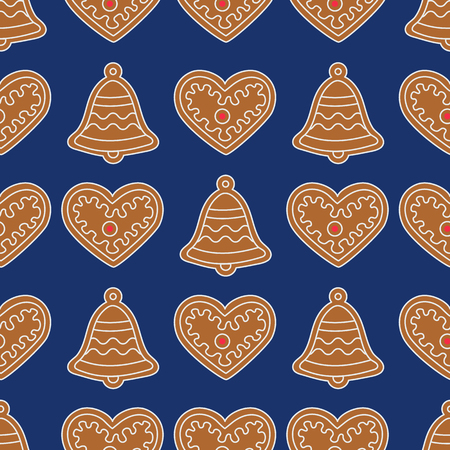 Seamless pattern with gingerbread bells and hearts. Holiday background. Design for banner, poster, textile, print.