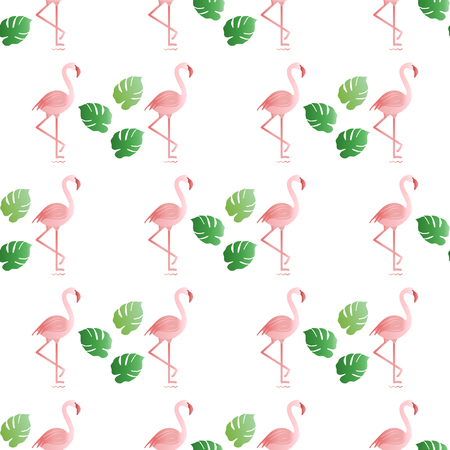Seamless pattern with flamingo, monstera leaves. Tropical exotic background. Design for banner, poster, textile, print.