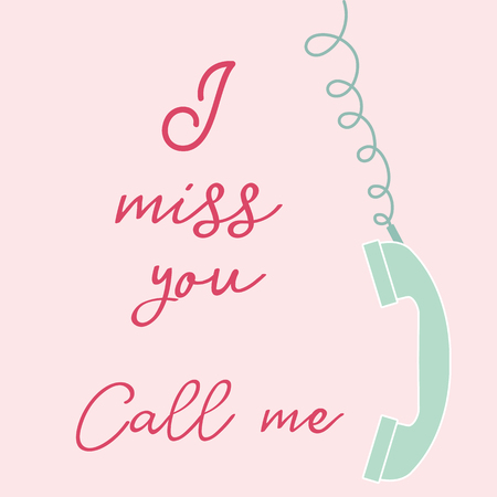 Vector illustration with handle handset. Inscription i miss you call me. Romantic background. Çizim