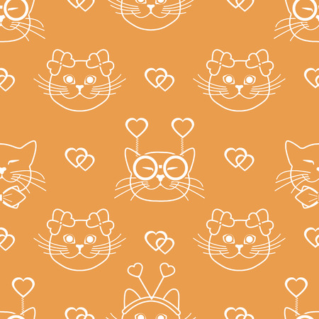 Seamless pattern with muzzle of cats in carnival masks, glasses, tie, bows, headbands and hearts. Greeting card happy Valentines Day. Romantic background. Carnival festive concept.