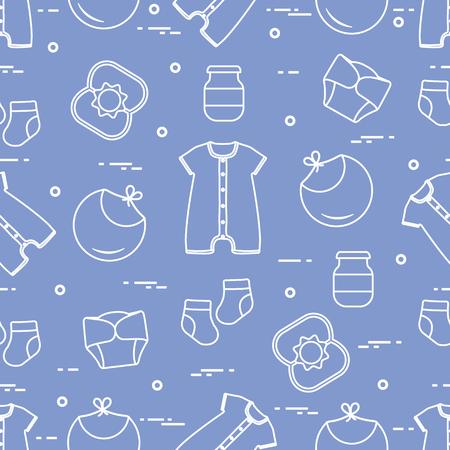Patrones sin fisuras con productos para bebés. Fondo de bebé recién nacido. Babero, lata de comida para bebés, sonajero, calcetines, pañales, body.