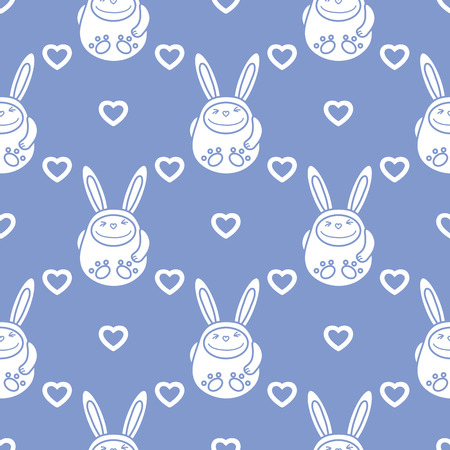 Seamless pattern with cartoon rabbits and hearts. Birthday, Valentines day, Happy Easter vector background. Festive background. Easter Bunny, rabbit, hare. Çizim