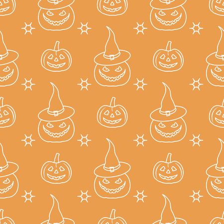 Halloween 2019 vector seamless pattern with pumpkins, witch hat. Design for party card, wrapping, fabric, print. 일러스트