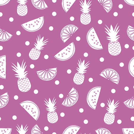 Seamless pattern with pineapples, orange slices, watermelon slices. Tropical fruit. Summer background. Ilustrace