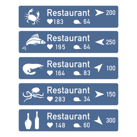 Application of augmented reality: AR for navigation in city or shopping center. Choosing fish restaurant by location, comments and likes. 일러스트