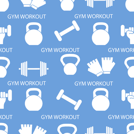 Seamless pattern with dumbbells, gloves, arm with dumbbells. Sports background. Weightlifting equipment. Stock Vector - 125294511