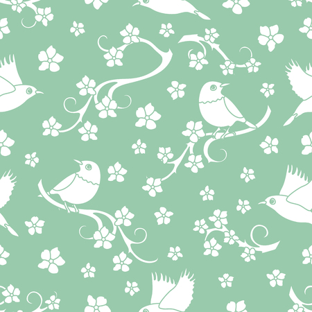 Seamless pattern with sakura branches, birds. Japan nature. Branches of cherry blossoms. Design for card, announcement, advertisement, banner or print. 일러스트