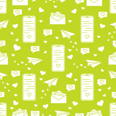 Seamless pattern with paper airplane, envelope, smartphone, sms, hearts. Birthday, Valentines day, Mothers Day, Fathers day, wedding vector romantic background. 일러스트