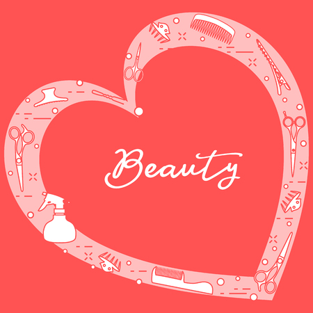 Vector illustration with professional hairdresser tools arranged in heart shape. Beauty salon. Manicure. Glamour fashion vogue style.