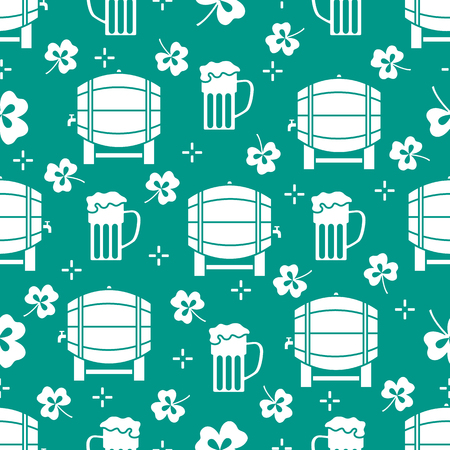 Seamless pattern with clover leaves, beer barrel, beer mug. St. Patricks Day. Holiday background. Irish vector pattern. Design for banner, poster, textile, print. Ilustrace