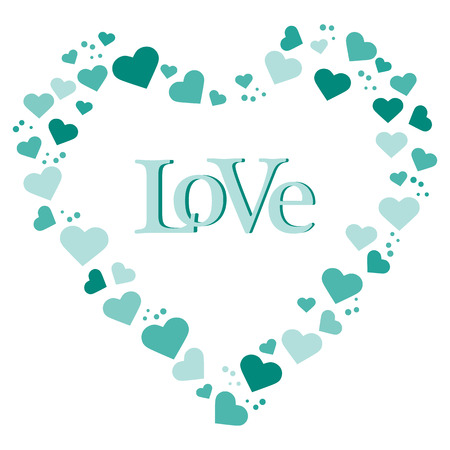 Vector illustration with heart composed of many hearts. Inscription love. Design for banner, poster or print.