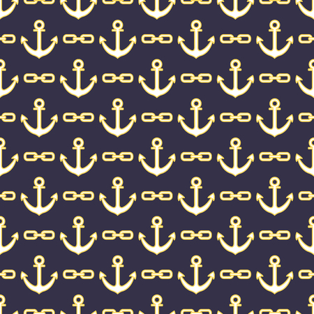Seamless pattern with anchors and chains. Sea background. Design for banner, poster, textile, print.