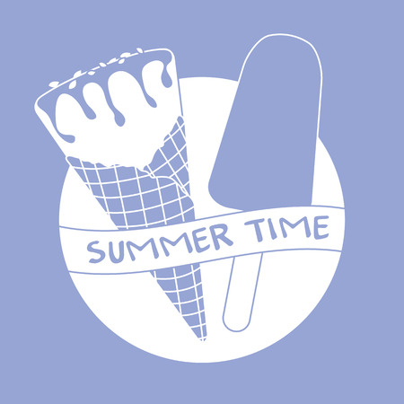 Vector illustration with delicious ice cream cone and ice lolly. Inscription summer time. 일러스트