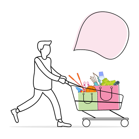 Vector illustration with man carries a shopping cart with purchased goods from the store. Male out shopping. Big sale and shopping concept.