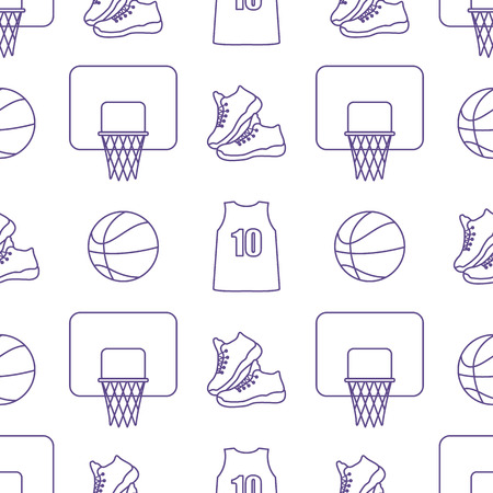 Seamless pattern with basketball basket, ball, sneakers, shirt. Sports background. Basketball equipment. Games, hobbies, entertainment.