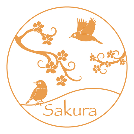 Sakura branches and japanese birds. Japan traditional design elements. Branches of cherry blossoms. Travel and leisure. 일러스트