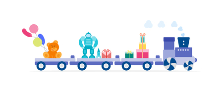 Funny vector illustration with train carries toys: robot, designer, bear, gifts, balloons. Happy New Year 2019, Christmas, Birthday. Sale, shopping concept.