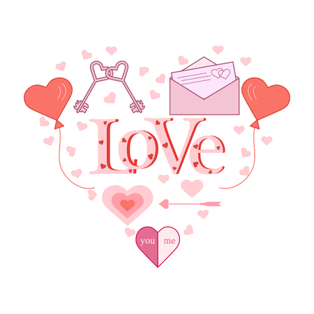 Balloons, keys, envelope with letter, arrow in the shape of a heart. Inscription love with hearts. Birthday, Valentines day vector background.