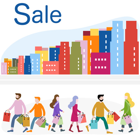 Vector illustration with cityscape, people carry shopping. Big sale and shopping concept. Design for banner, poster or print.