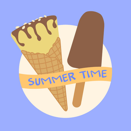Vector illustration with delicious ice cream cone and ice lolly. Inscription summer time. Ilustrace
