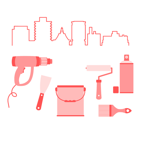Vector illustration with cityscape and tools for the preparation, staining of surfaces. Building, construction and home repair tools. Painting and repair of premises.