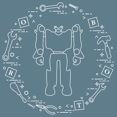 Robot, cubes with letters, toy tools (screwdriver, wrench, screw, hammer). Toys for children. Robotics, technologies. Design for banner, poster or print. Ilustracja