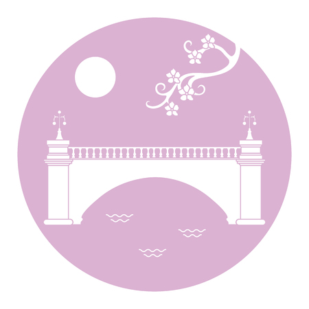 Vector illustration with sakura branch and old bridge. Japan traditional design elements. Branches of cherry blossoms. Travel and leisure. 일러스트