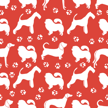 Seamless pattern with dogs of different breeds, dog tracks. Animal background. Design for card, announcement, advertisement, banner or print.