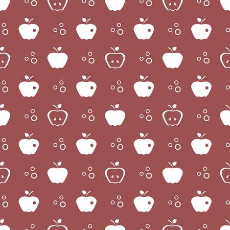 Seamless pattern with apples. Vector illustration with apple and leaf. Fruit background. Design for poster, textile, greeting card. Ilustracja