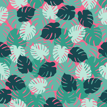 Seamless pattern with monstera leaves. Tropical background. Design for banner, poster, textile, print.