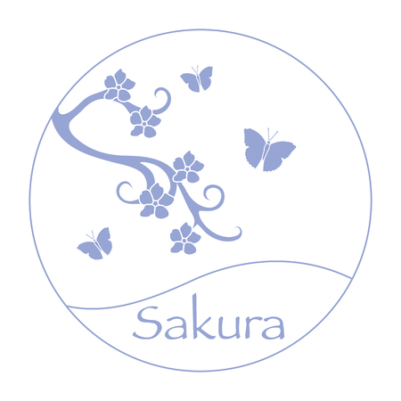 Vector illustration with sakura branch and butterflies. Japan traditional design elements. Branch of cherry blossoms. Travel and leisure.