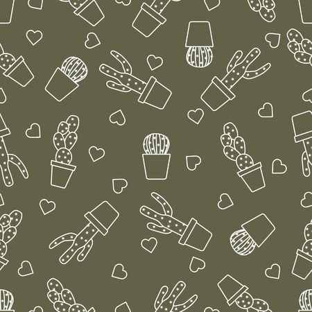 Vector seamless pattern with cactus, succulents, hearts. Trendy background. Tropical plants.