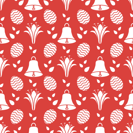 Seamless pattern with bells, lilies, decorated eggs. Happy Easter. Festive background. Design for banner, poster or print.  イラスト・ベクター素材