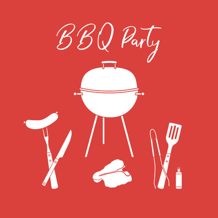 Vector illustration with grill and barbecue tools. BBQ party background. Design for party card, banner, poster or print.