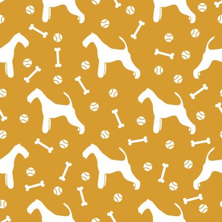 Nahtloses Muster mit Hund, Knochen, Tennisball. Freundschaft. Tierischer Hintergrund.
