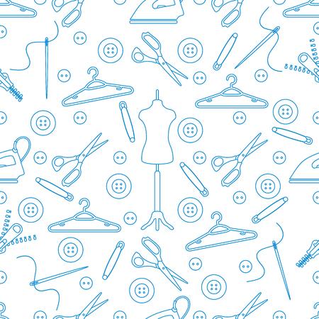 Vektornahtloses Muster mit Werkzeugen und Zubehör zum Nähen. Vorlage für Design, Stoff, Druck.