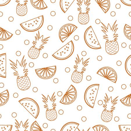 Patrón sin fisuras con piñas, rodajas de naranja, rodajas de sandía. Fruta tropical. Fondo de verano. Ilustración de vector